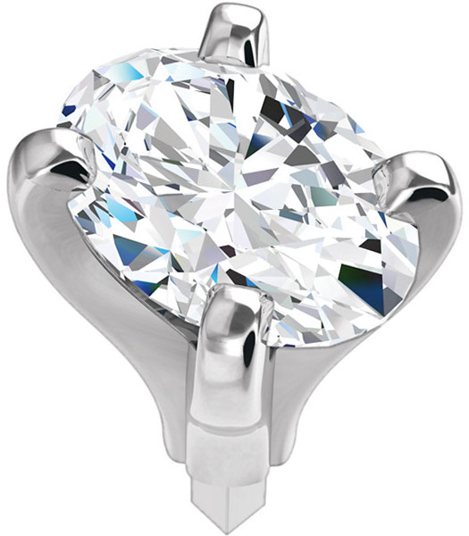 Elegant 14kt White Gold 4-Prong Peg Setting for Oval Gemstone Sized 6.00 x 4.00 mm to 8.50 x 6.50 mm