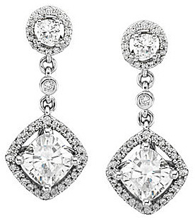 Elegant 2.06ct Diamond Accented Post Back Dangle Earrings With Round & Antique Square Created Moissanite Gems - SOLD