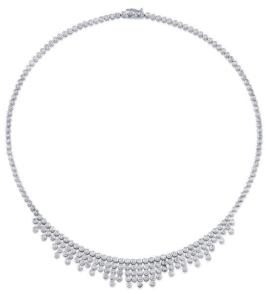 Elegant 3.81ctw Diamond Necklace in 18kt White Gold - 226 Bezel Set Round Diamonds