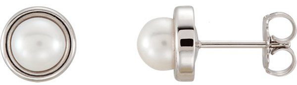 Elegant 5.5-6mm Freshwater Cultured Pearl Button Earrings With Post Back Corner - Metal Type Options