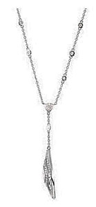 Elegant .88ct Drop Style Double Marquise Shape Outline Diamond Pendant with a Station Style Chain in 14k White Gold