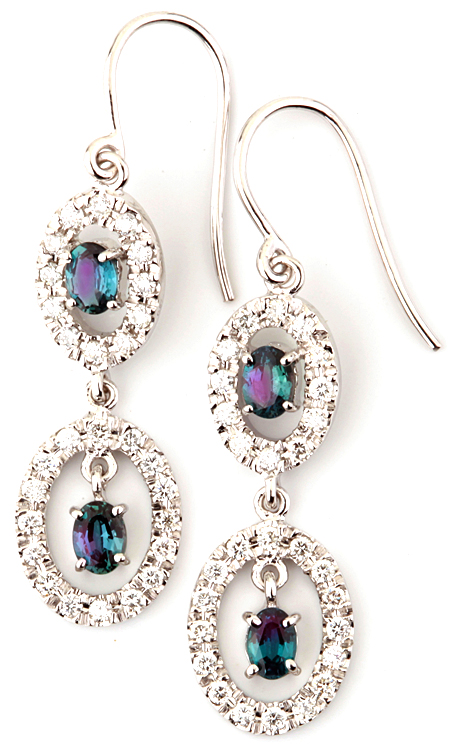 Elegant Brazilian Alexandrite Wire Back Dangle Earrings in 14k White Gold - Great Gift for Her - 0.85 carats, 4.15 x 3.54 mm