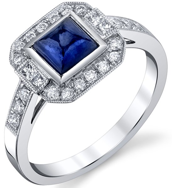 Elegant Cabochon Princess Blue Sapphire Bezel Set Halo Style Ring in 18kt White Gold - 0 .70ctw Diamond Accents