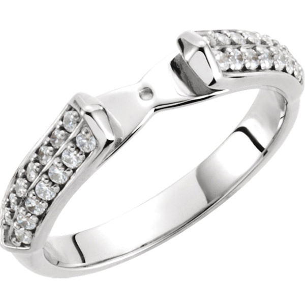 Elegant Diamond Accented Preset Ring Shank for Peg Mounting in 14kt White Gold   Choose Diamond Ct Weight