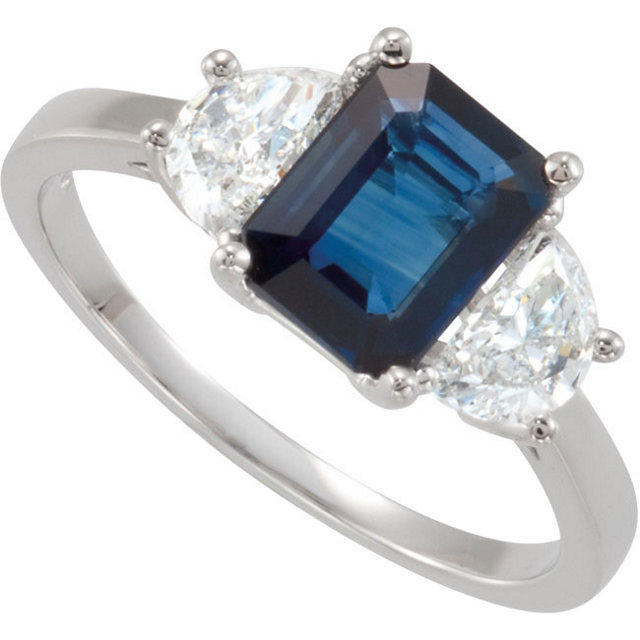 Elegant Fancy 8x6mm  Blue Sapphire Classic 3 stone 1 ct Ring with Large Half Moon Diamond Side Stones