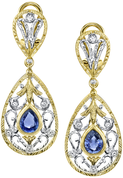 Elegant Handcrafted Ornate Dangle Earrings With 8x6mm Pear Shape Blue Sapphire Gems - 0.48ctw Diamonds