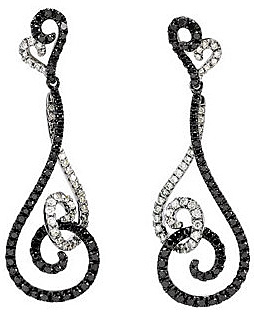Elegant Interconnecting 1.5 ct, 0.90 - 1.40 mm Black and White Diamond Spiral Style Dangle Earrings With Post Back Closure in 14k White Gold