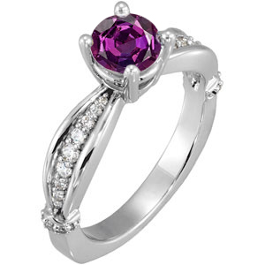 Elegant Sculpted Style 1 carat GEM Grade Natural Alexandrite Solitaire Engagement Ring - Dazzling Diamond Accents