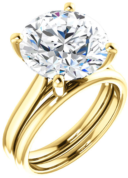 Elegant Solitaire Ring Mounting for Round Shape Centergem Sized 4.10 mm to 12.00 mm - Customize Metal, Accents or Gem Type