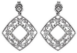 Elegant Sterling Silver Statement Earrings With .2 ct, .095 - 1.10 mm Diamond Accents - Open Square Look With Leaf Decorations