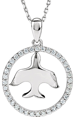 Elegant Suspended Dove Pendant Framed By a .25ct Diamond Studded Open Circle in Sterling Silver - 1.20mm Diamonds - Free Chain Included - SOLD