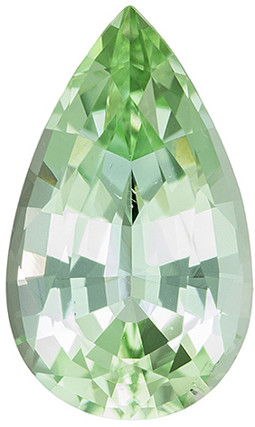 Elegant Tourmaline Loose Gemstone in Pear Cut, Neon Mint Green, 13.8 x 8.2 mm, 3.83 carats