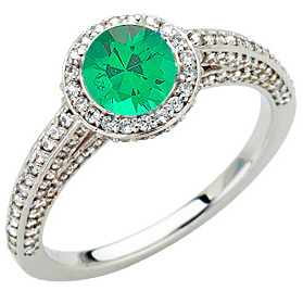 Emerald Bling! 1.50 carats of Fine Diamonds set around Large  .9ct 5mm GEM Grade Emerald in White Gold Ring