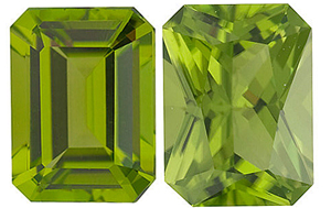 <b>Peridot Emerald Cut - Calibrated</b>