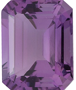 Emerald Cut Genuine Amethyst in Grade A