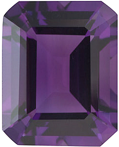 Emerald Cut Genuine Amethyst in Grade AA