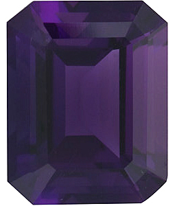 Emerald Cut Genuine Amethyst in Grade AAA
