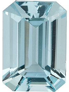 Emerald Cut Genuine Aquamarine in Grade AA