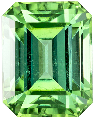 Emerald Cut Green Tourmaline Loose Gem, Fiery Mint Green, 7.4 x 5.8 mm, 1.75 carats