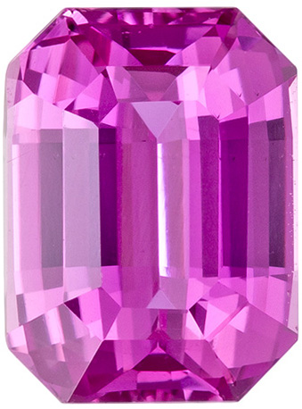 Emerald Cut Pink Sapphire Loose Gem in a Rich Pure Pink Color in 8 x 6 mm, 2.07 carats
