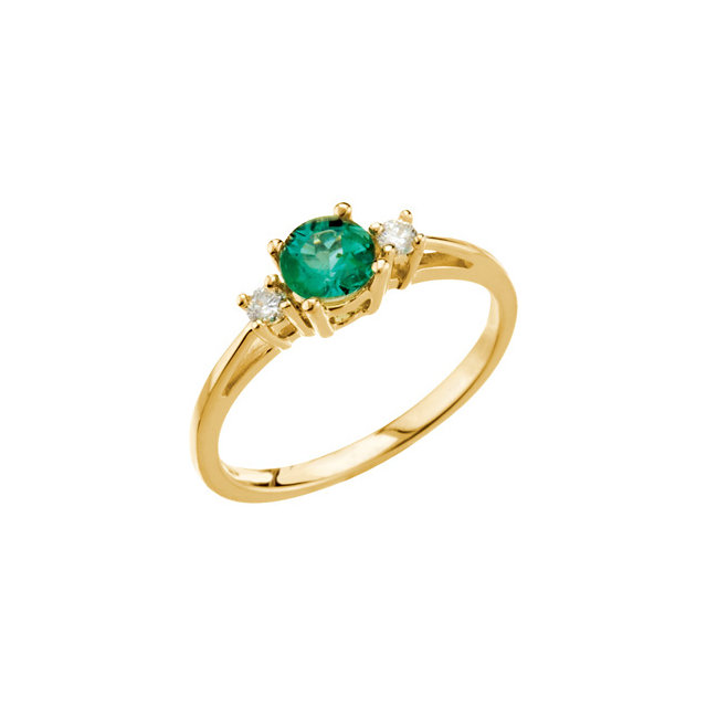 Genuine Emerald Ring in Emerald & Diamond Accented 3-Stone Ring