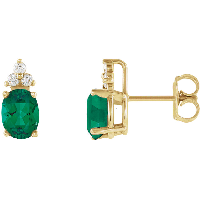 Genuine Emerald Earrings in Emerald & Diamond Accented Earrings