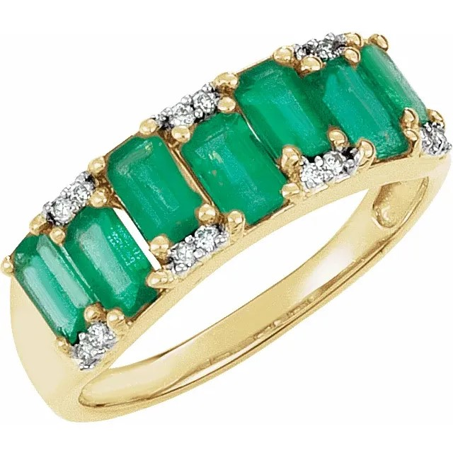 Emerald & Diamond Accented Ring