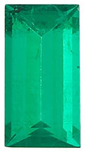 Loose Genuine Emerald Stone, Baguette Shape, Grade AA, 4.00 x 2.00 mm in Size, 0.13 Carats