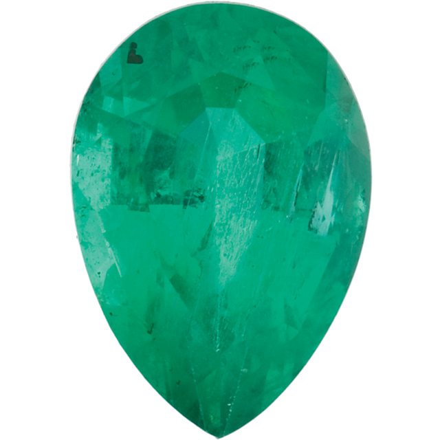 Faceted Loose Emerald Gem, Pear Shape, Grade A, 8.00 x 5.00 mm in Size, 0.8 Carats