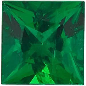 Faceted Loose Emerald Gem, Princess Shape, Grade AAA, 2.00 mm in Size, 0.05 Carats