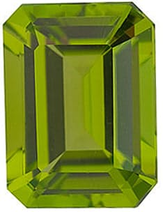 Genuine Gemstone Emerald Shape Peridot Gem Grade AAA  12.00 x 10.00 mm in Size, 6.2 Carats