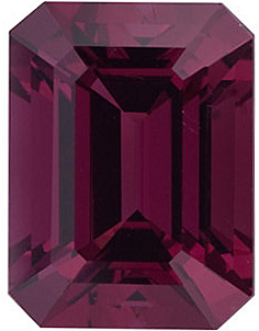 Top Quality Genuine Natural Emerald Shape Rhodolite Garnet Grade AAA, 6.00 x 4.00 mm in Size, 0.75 carats