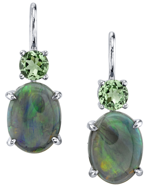 Enchanting Hand Crafted 18kt White Gold Dangle Earrings - 3.13ctw Oval Opal & 0.58ctw Round Tsavorite