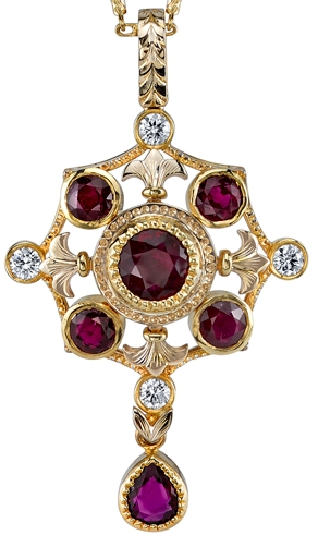 Enchanting Hand Made Ruby Dangle Pendant With 4 Diamond Accents in 18kt Yellow Gold - 6 Rubies 1.86 carats