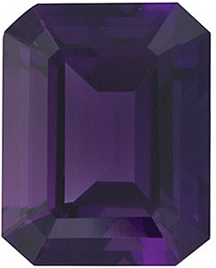 Loose Genuine Gem  Amethyst Stone, Emerald Shape, Grade AAA, 10.00 x 8.00 mm Size, 3.15 carats