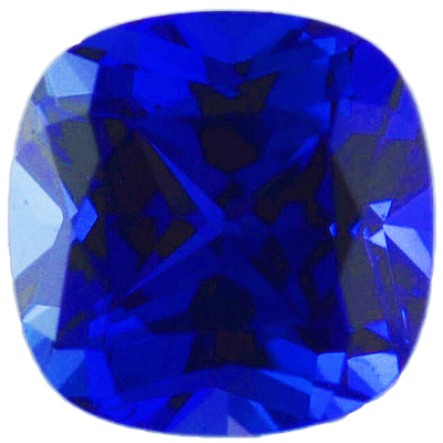 Chatham Created Blue Sapphire Gemstone, Antique Square Shape, Grade GEM, 6.00 mm in Size, 1.3 Carats
