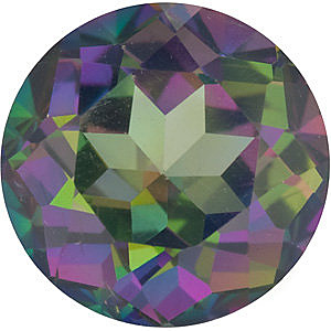 Engagement Mystic Green Topaz Gem, Round Shape, Grade AAA, 6.50 mm in Size, 1.35 Carats
