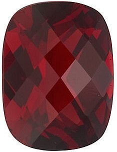 Engagement Red Garnet Gemstone, Antique Cushion Shape Checkerboard, Grade AAA, 8.00 x 6.00 mm in Size, 1.8 carats