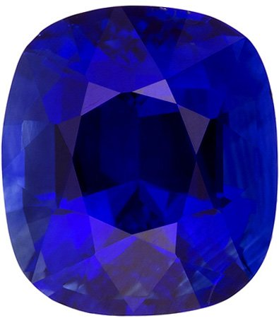 Engagement Ring Blue Sapphire Gem in Cushion Cut, Intense Rich Blue Color in 7.3 x 6.5 mm, 2.12 carats
