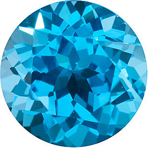 Loose Faceted  Swiss Blue Topaz Gem, Round Shape, Grade AAA, 2.50 mm in Size, 0.09 Carats