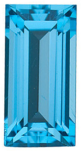 Faceted Loose  Swiss Blue Topaz Gem, Straight Baguette Shape, Grade AAA, 4.00 x 2.00 mm in Size, 0.14 Carats