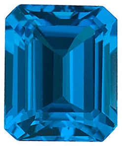 Genuine Gemstone  Swiss Blue Topaz Stone, Emerald Shape, Grade AAA, 6.00 x 4.00 mm in Size, 0.7 Carats