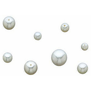 Loose Faceted  White Akoya Cultured Pearl, Round Shape Undrilled, Grade AA, 6.50 mm in Size