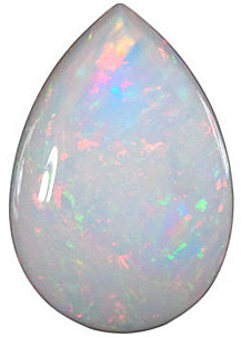 Loose Genuine Gem  White Fire Opal Stone, Pear Shape Cabochon, Grade AAA, 7.00 x 5.00 mm in Size, 0.37 carats