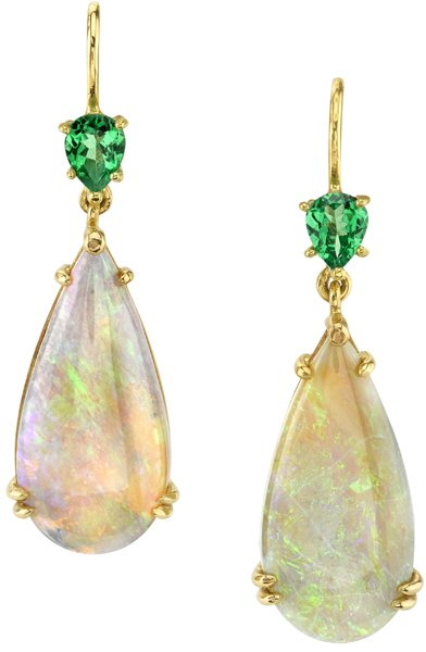 Enthralling Elongated 21.7x10mm Pear Dangle Opal Earrings With Tsavorite Garnets - 18kt Yellow Gold