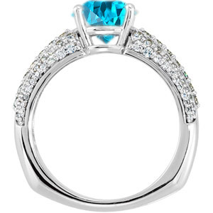 European Inspired Style - Genuine Blue Zircon Engagement Ring With Dazzling Faux Pave Diamond Accents - SOLD