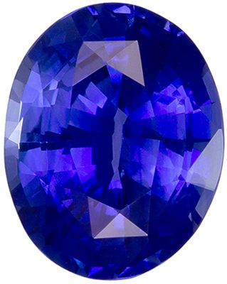 Even Color  GIA Certified Blue Sapphire Loose Gemstone, Intense Rich Blue, Oval Cut, 10.01 x 7.92 x 5.18 mm, 3.21 carats