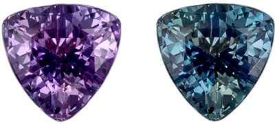 Excellent Alexandrite Genuine Gemstone, 3.7 mm, Blue Green to Burgundy, Trillion Cut, 0.22 carats