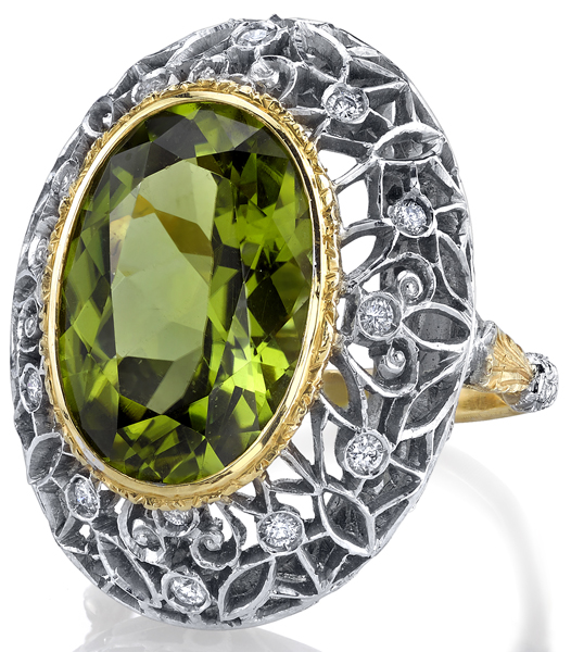 Excellent Bezel Set 8.88ct Oval Peridot Ring in 2-Tone 18kt Gold - Diamond Accents