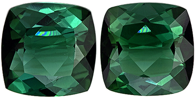Excellent Blue Green Tourmaline Well Matched Gemstone Pair in Cushion Cut, Medium Blue Green, 7 mm, 3.08 carats